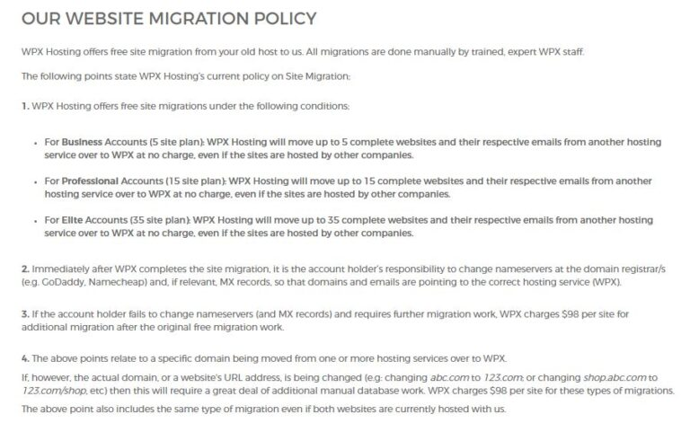 WPX migration policy review