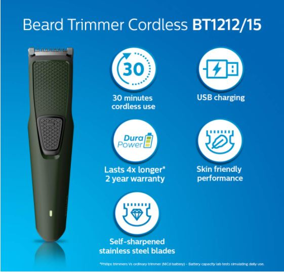Philips-BT1212-USB-charging-cordless-rechargeable-Beard-Trimme