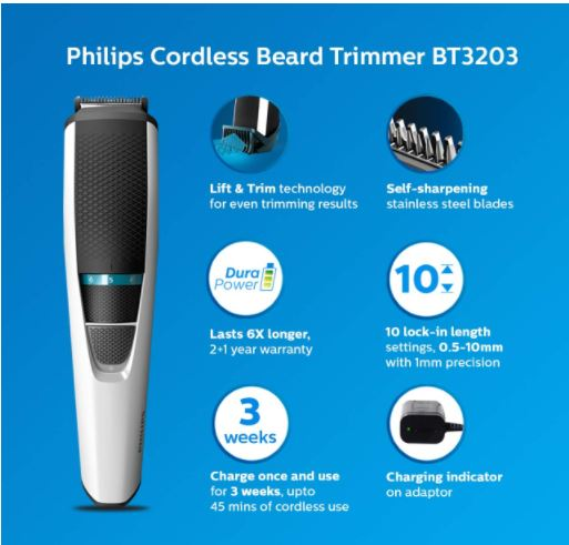Philips-cordless-rechargeable-Beard-Trimmer
