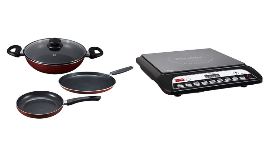 prestige non-stick set and induction cooktop combo