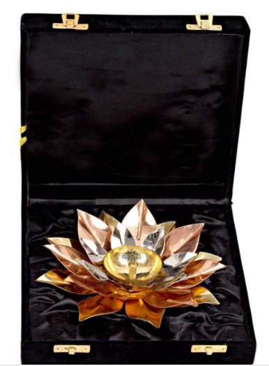 copper plated lotus diwali gift