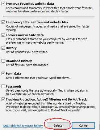 step to delete browsing data to improve laptop performance